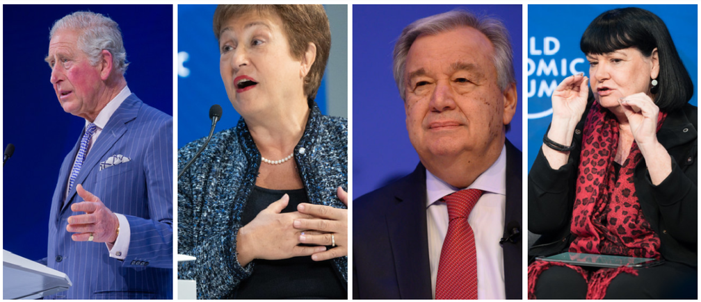 HRH The Prince of Wales, IMF Managing Director Kristalina Georgieva, UN Secretary-General António Guterres and Sharan Burrow, General Secretary, International Trade Union Confederation, speak at the launch of the Forum's Great Reset.