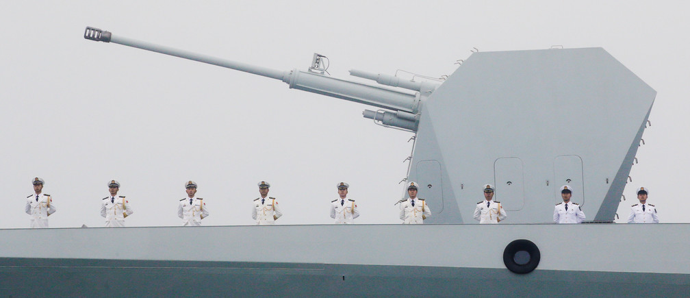 Chinese Navy's destroyer Taiyuan takes part in a naval parade off the eastern port city of Qingdao, to mark the 70th anniversary of the founding of Chinese People's Liberation Army Navy, China, April 23, 2019. REUTERS/Jason Lee     TPX IMAGES OF THE DAY - RC18E1D93820