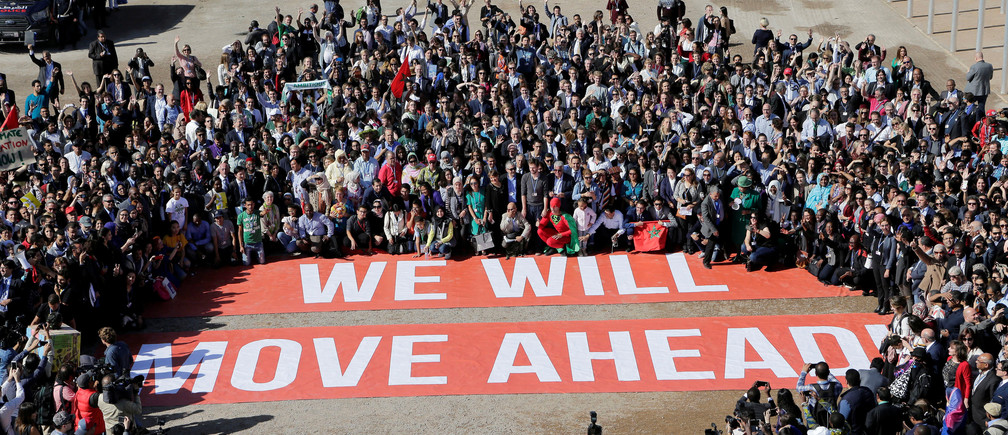 Greenpeace stage a protest outside the UN Climate Change Conference 2016 (COP22) in Marrakech, Morocco, November 18, 2016. REUTERS/Youssef Boudlal - RTX2UA89