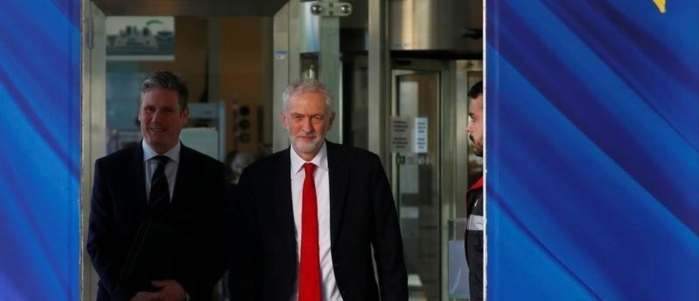 Britain's Labour Party leader Jeremy Corbyn and Labour Party's Shadow Secretary of State for Departing the European Union Keir Starmer leave a meeting with European Union Chief Brexit Negotiator Michel Barnier (not pictured) at the EU Commission headquarters in Brussels, Belgium, February 21, 2019. REUTERS/Francois Lenoir - RC1EA3E44590