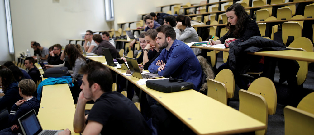 Students attend a class at the Faculty of Sport Sciences at Paris-Sud University in Orsay, France, March 24, 2017.
