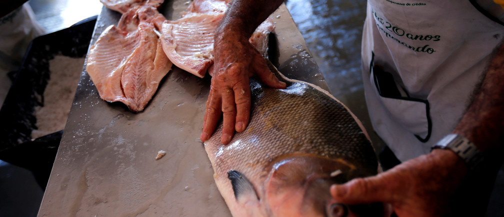 A cook prepares fish during a fish festival at the Esplanade of Ministries in Brasilia, Brazil August 7, 2019
