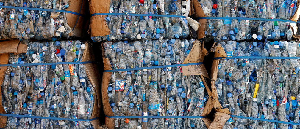 Plastic bottles are sorted to be recycled at Cedar Environmental waste management company in Beit Mery, Lebanon August 17, 2017. REUTERS/Mohamed Azakir - RC1DF3599AF0