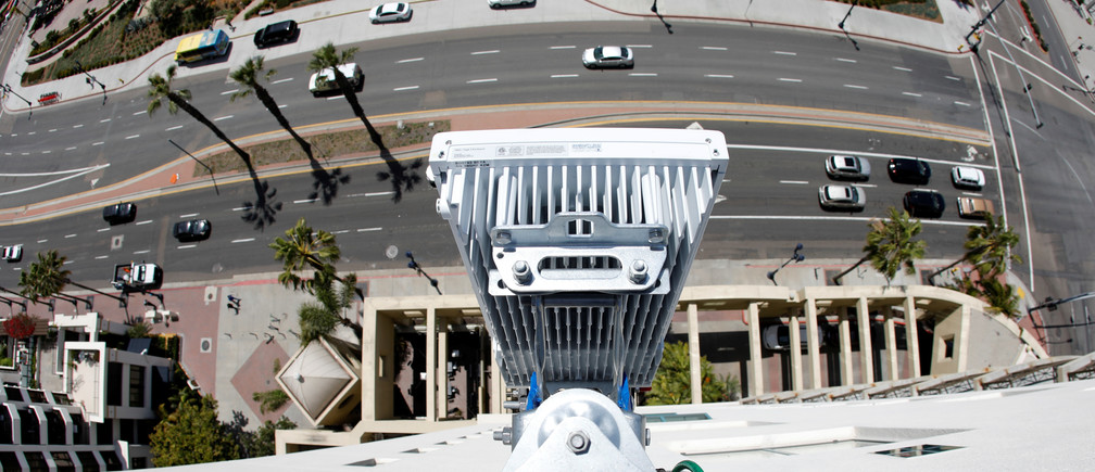 A newly installed 5G antenna system made by Ericsson for the AT&T's 5G wireless network is shown high atop a building in downtown San Diego, California, U.S., April 23, 2019. Picture taken with a fish eye lens.