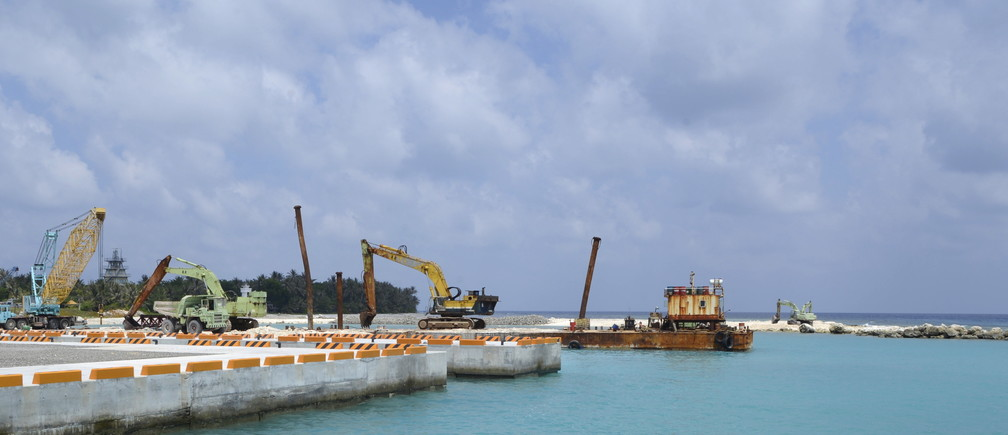 A construction site of a pier, in Itu Aba, which the Taiwanese call Taiping, at the South China Sea, March 23, 2016. REUTERS/Fabian Hamacher - GF10000357114