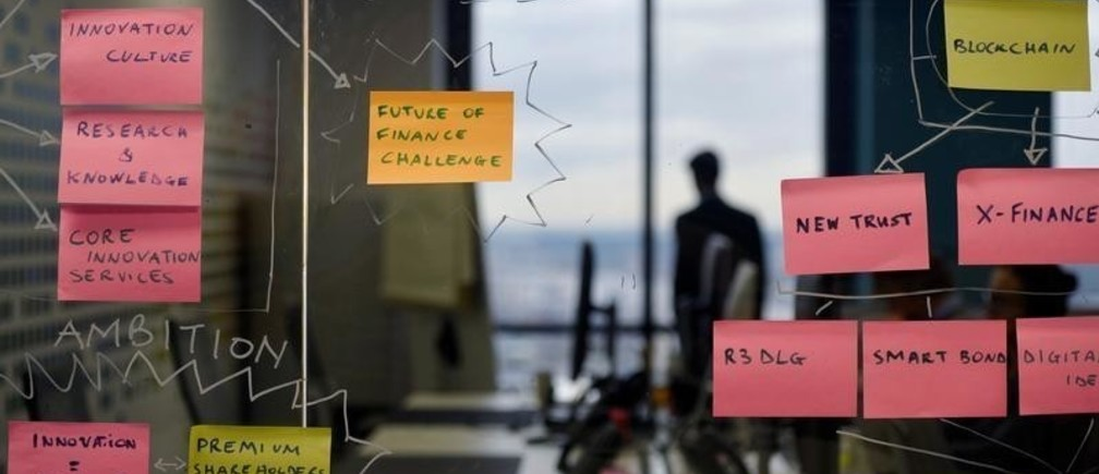 """Post-it notes are displayed in the UBS """"fintech lab"""" at Canary Wharf in London, Britain, October 19, 2016. REUTERS/Hannah McKay - D1BEUHXBSVAA"""