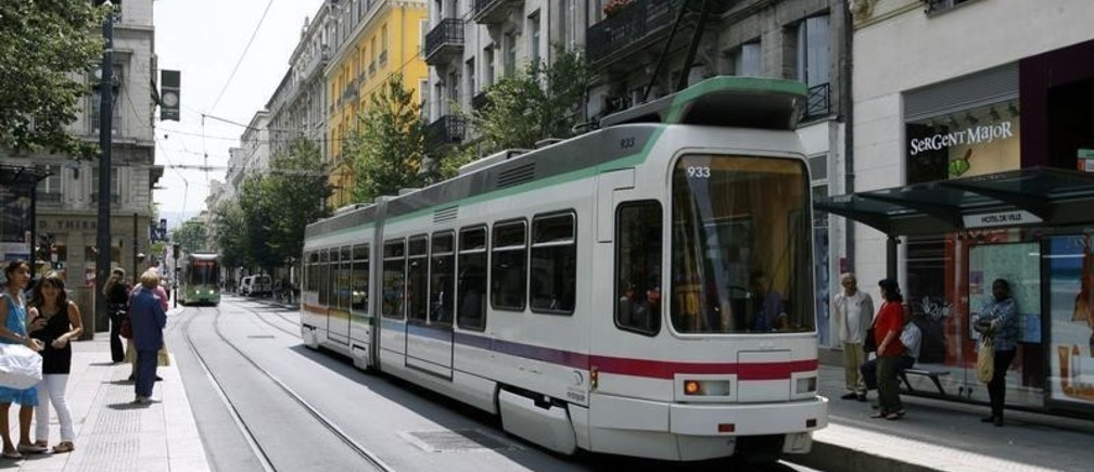 A tramway is seen in this general view of Saint-Etienne, July 19, 2007. Saint-Etienne is one of the French host cities for the Rugby World Cup 2007 tournament which will begin in Paris on September 7, 2007 with the final also in the French capital on October 20, 2007.   REUTERS/Robert Pratta (FRANCE) - PM1DVUEDCJAA