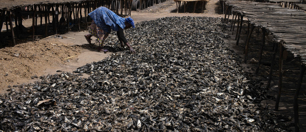 A woman sorts through fish at an artisanal fish processing facility in the coastal town of Joal-Fadiouth, Senegal, April 10, 2018. Picture taken April 10, 2018. To match Special Report OCEANS-TIDE/SARDINELLA    REUTERS/Sylvain Cherkaoui     TPX IMAGES OF THE DAY - RC1EC39F1B90