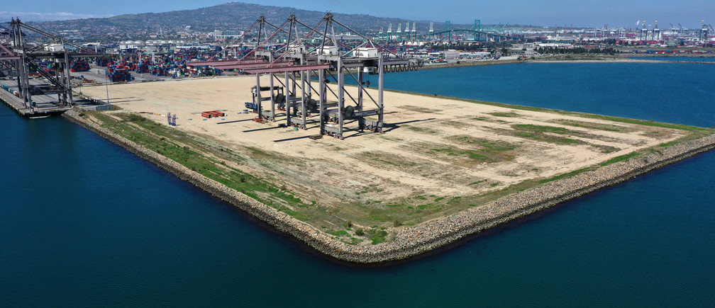 An empty shipping dock is seen, as the global outbreak of the coronavirus disease (COVID-19) continues, in the Port of Los Angeles, California, U.S., April 16, 2020.