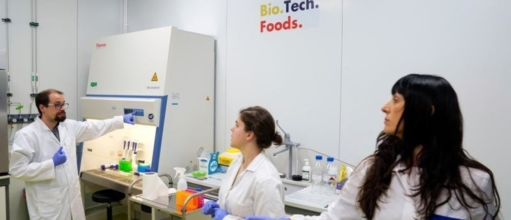 Mercedes Vila, co-founder of Biotech Foods, talks with lab assistants Monica Cicuendez and Diego Cortizo at the company's laboratory in San Sebastian, Spain, June 19, 2019. Picture taken June 19, 2019. REUTERS/Vincent West - RC16EE4A4040