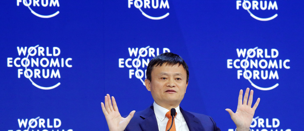 Jack Ma, Executive Chairman of Alibaba Group Holding, gestures as he speaks the World Economic Forum (WEF) annual meeting in Davos, Switzerland January 24, 2018.  REUTERS/Denis Balibouse - RC13A5FD8500