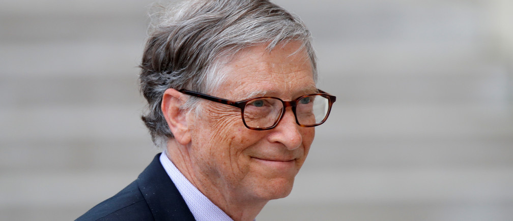 Bill Gates, Co-Chair of Bill & Melinda Gates Foundation arrives at the Elysee Palace in Paris, France, April 16, 2018.    REUTERS/Charles Platiau - RC148C03D290