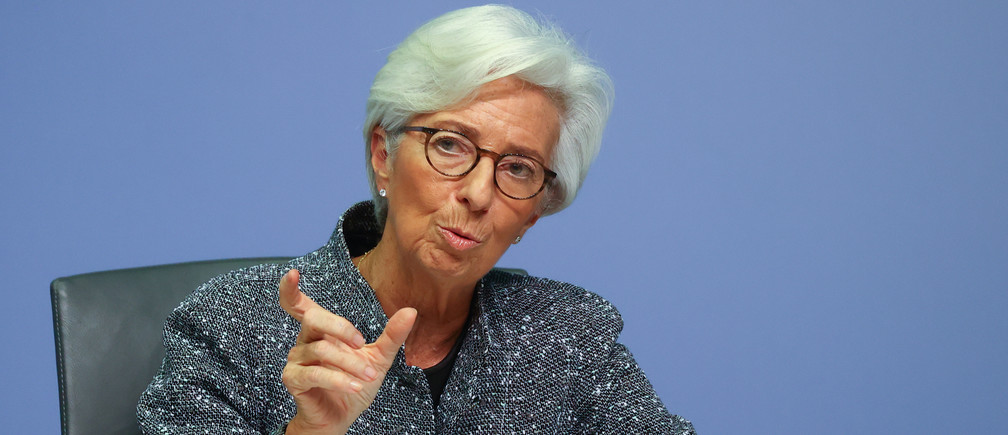 European Central Bank (ECB) President Christine Lagarde gestures during a news conference on the outcome of the meeting of the Governing Council, in Frankfurt, Germany, March 12, 2020.