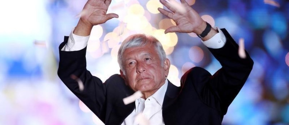 Mexican presidential candidate Andres Manuel Lopez Obrador waves to supporters during his closing campaign rally at the Azteca stadium, in Mexico City, Mexico June 27, 2018.