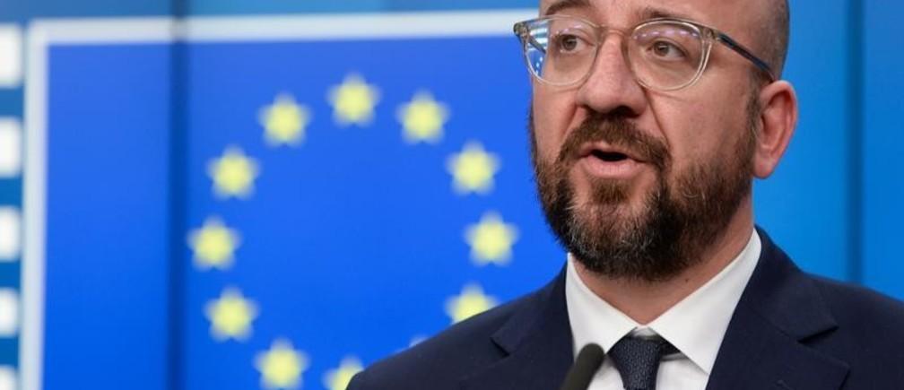 Charles Michel, el presidente del Consejo Europeo, en una rueda de prensa después del G7 en Bruselas, Bélgica.