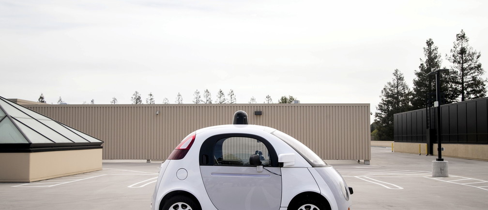 A prototype of Google's own self-driving vehicle is seen during a media preview of Google's current autonomous vehicles in Mountain View, California.