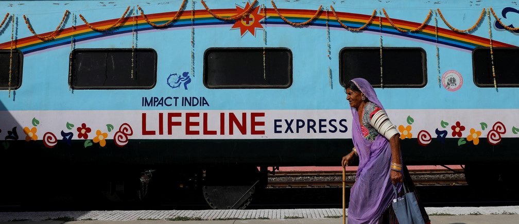 The Lifeline Express, a hospital built inside a seven-coach train, parked at a railway station in Jalore, India