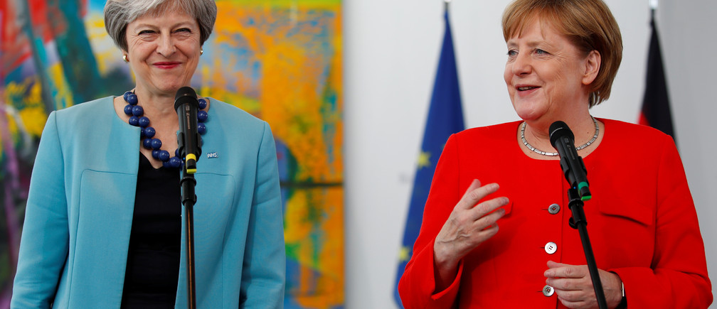 German Chancellor Angela Merkel receives Britain's Prime Minister Theresa May in Berlin, Germany, July 5 2018