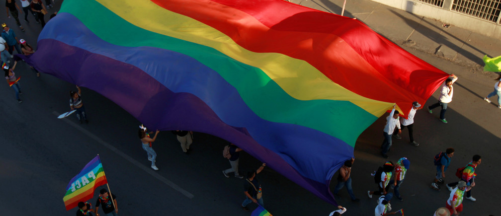 Members of the LGBT community carry a rainbow flag during a march in support of gay marriage, sexual and gender diversity in Ciudad Juarez, Mexico, June 10 2018. REUTERS/Jose Luis Gonzalez - RC1F2B2E6600
