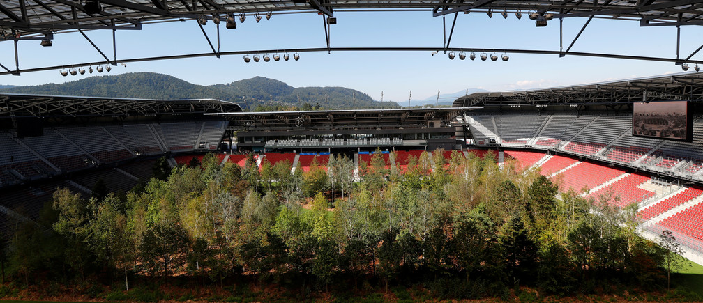 """The temporary art intervention by Swiss artist Klaus Littmann """"FOR FOREST – The Unending Attraction of Nature"""" is seen on the Woerthersee Stadium in Klagenfurt, Austria September 5, 2019.   REUTERS/Leonhard Foeger - RC1C6C52A5B0"""