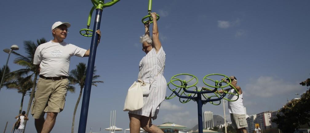 Elderly people exercise in Copacabana in Rio de Janeiro August 18, 2011.