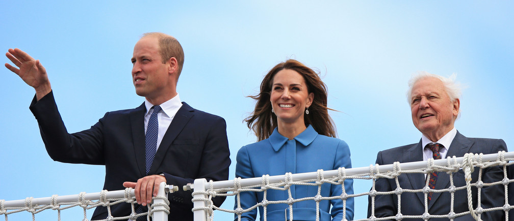 Britain's Prince William and Catherine, Duchess of Cambridge, join Sir David Attenborough during the naming ceremony for the new polar research ship RRS Sir David Attenborough at Cammell Laird shipyard in Birkenhead, Britain, September 26, 2019.  Peter Byrne/Pool via REUTERS - RC1518866F80