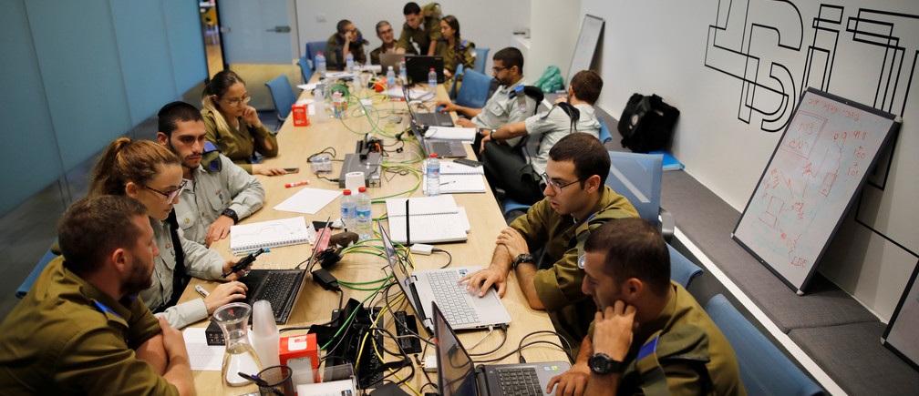 Israeli soldiers take part in a cybersecurity hackathon