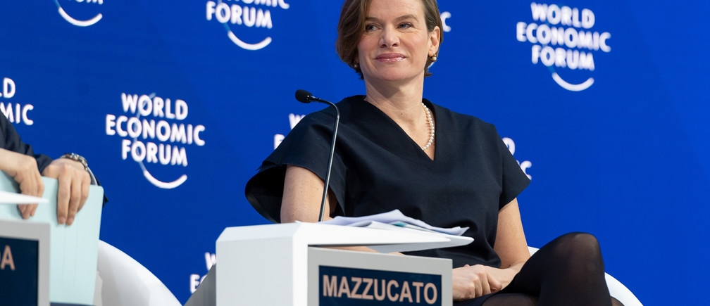 "Mariana Mazzucato, Professor of Economics of Innovation and Public Value; Founder and Director, Institute for Innovation and Public Purpose, University College London (UCL), United Kingdom speaking during the Session ""Global Economy in Transition: Shaping a New Architecture"" at the Annual Meeting 2019 of the World Economic Forum in Davos, January 25, 2019. Congress Centre - Congress Hall."