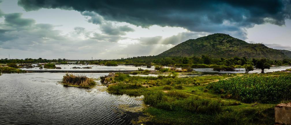 The banks of the Cauvery River at Shivanasamudra in Karnakata