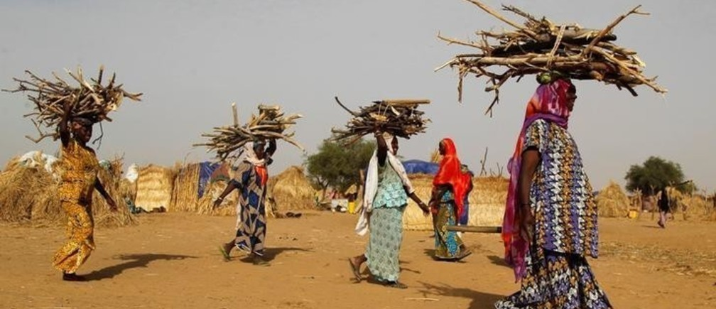 Women carry fire woods at the Boudouri site for displaced persons outside the town of Diffa in southeastern Niger June 21, 2016. Picture taken June 21, 2016. REUTERS/Luc Gnago