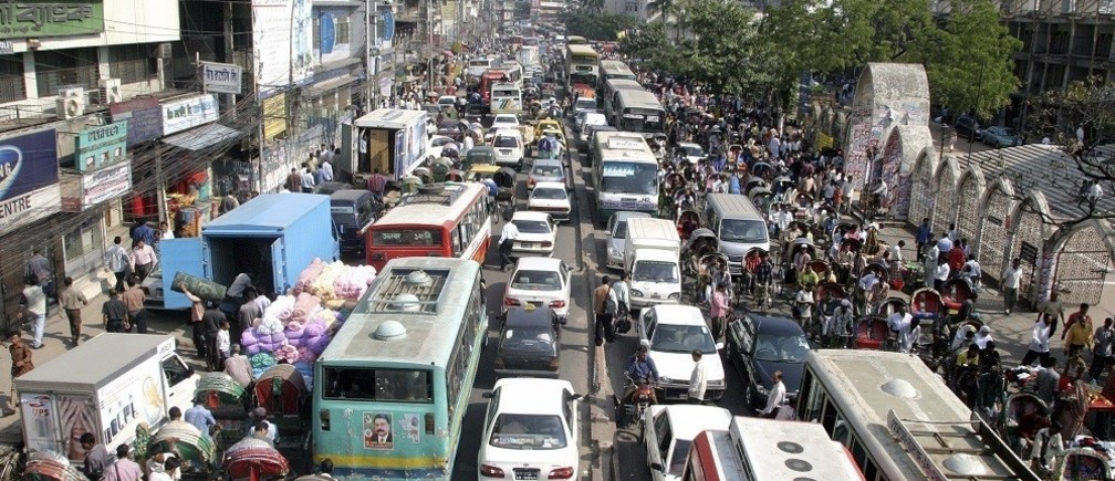 A view of traffic on a street on the first day after a week-long nationwide transport blockade in Dhaka, November 26, 2006.