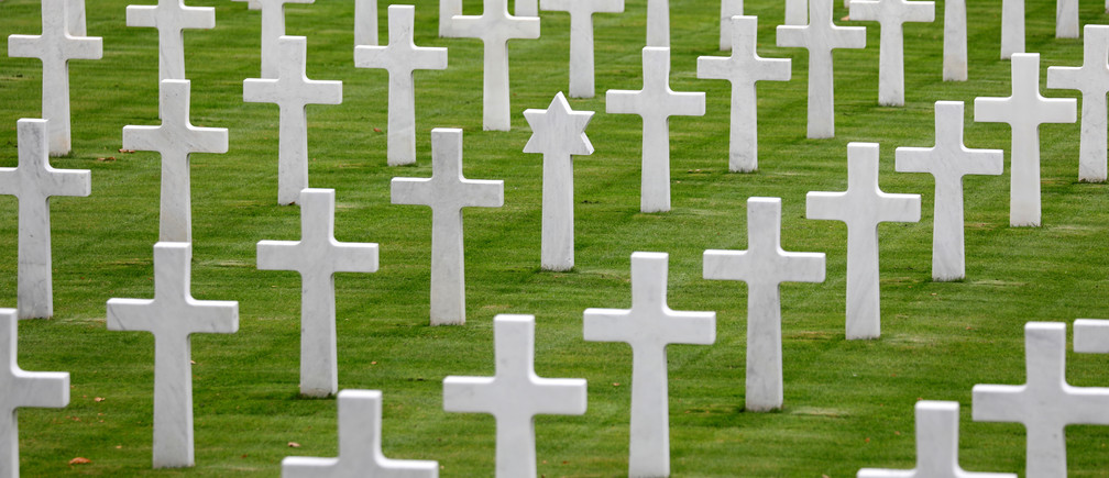 Headstones are seen at the Suresnes American Cemetery and Memorial, dedicated to the U.S. dead of World War I and World War II, on the outskirts of Paris France, October 24, 2018 before the centennial commemoration of the First World War Armistice Day.  REUTERS/Charles Platiau - RC1E2351F990