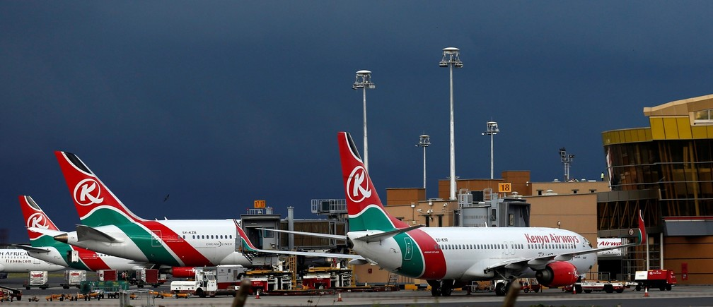 Kenya Airways planes are seen parked during a pilots strike organised by Kenya Airline Pilots Association (KALPA) at the Jomo Kenyatta International airport near Kenya's capital Nairobi, April 28, 2016.