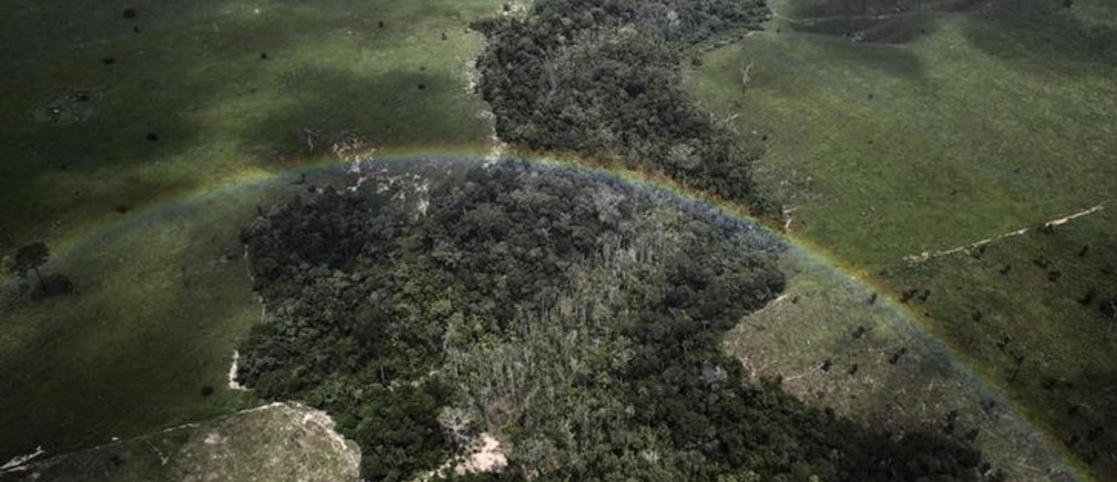 A rainbow is seen over a tract of Amazon rainforest which has been cleared by loggers and farmers for agriculture, near the city of Uruara, Para State April 22, 2013. The Amazon rainforest is being eaten away at by deforestation, much of which takes place as areas are burnt by large fires to clear land for agriculture. Initial data from Brazil's space agency suggests that destruction of the vast rainforest - the largest in the world - spiked by more than a third over the past year, wiping out an area more than twice the size of the city of Los Angeles. If the figures are borne out by follow-up data, they would confirm fears of scientists and environmental activists who warn that farming, mining and Amazon infrastructure projects, coupled with changes to Brazil's long-standing environmental policies, are reversing progress made against deforestation. Environmental issues will be under the spotlight as a United Nations Climate Change Conference opens in Warsaw, Poland on November 11. Picture taken on April 22, 2013. REUTERS/Nacho Doce (BRAZIL - Tags: ENVIRONMENT POLITICS SOCIETY AGRICULTURE TPX IMAGES OF THE DAY)ATTENTION EDITORS: PICTURE 53 OF 55 FOR PACKAGE 'AMAZON - FROM PARADISE TO INFERNO' TO FIND ALL IMAGES SEARCH 'AMAZON INFERNO'
