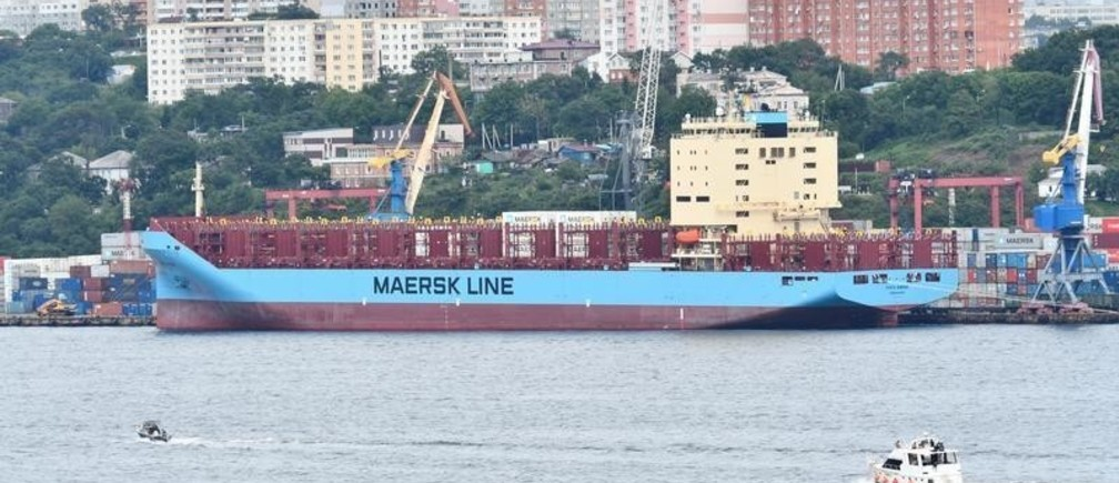 The Venta Maersk in the Russian port of Vladivostok as it prepares to set off on its Arctic voyage, Russia August 22, 2018. Picture taken August 22, 2018. REUTERS/Yuri Maltsev - RC1BC7891020