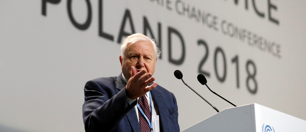"World renowned naturalist Sir David Attenborough delivers the ""People's Seat"" address during the opening of COP24 UN Climate Change Conference 2018 in Katowice, Poland December 3, 2018. REUTERS/Kacper Pempel - RC1B2DB528E0"