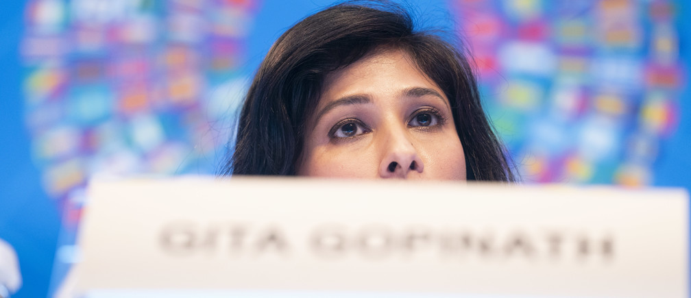 International Monetary Fund Economic Counsellor and Director of the Research Department, Gita Gopinath presents the World Economic Outlook at the IMF Headquarters during the 2019 IMF/World Bank Annual Meetings October 15, 2019 in Washington, DC. IMF Staff Photograph/Stephen Jaffe