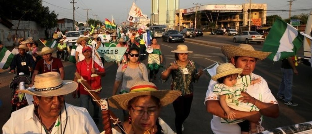 People participate in the 10th Indigenous March to defend Mother Earth in Santa Cruz, Bolivia, October 16, 2019. REUTERS/David Mercado - RC1A9FA2F250
