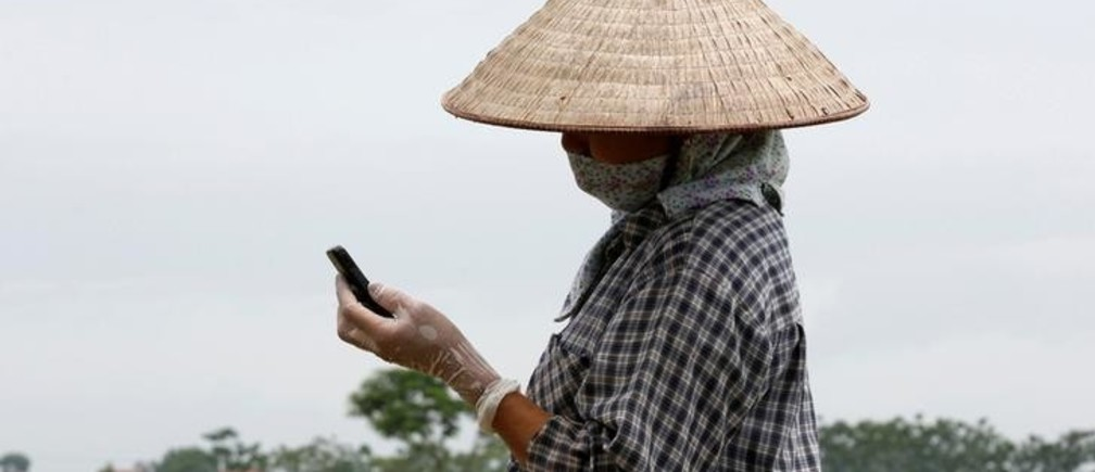 A farmer reads a message on a cell phone while working on a rice paddy field outside Hanoi, Vietnam July 3, 2017. REUTERS/Kham