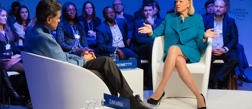 Ginni Rometty, Chairman, President and Chief Executive Officer, IBM Corporation, USA and Fareed Zakaria, Host, Fareed Zakaria GPS at the Annual Meeting 2017 of the World Economic Forum in Davos, January 18, 2017Copyright by World Economic Forum / Christian Clavadetscher