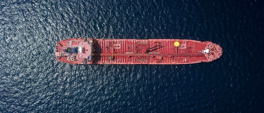 A tanker at sea.