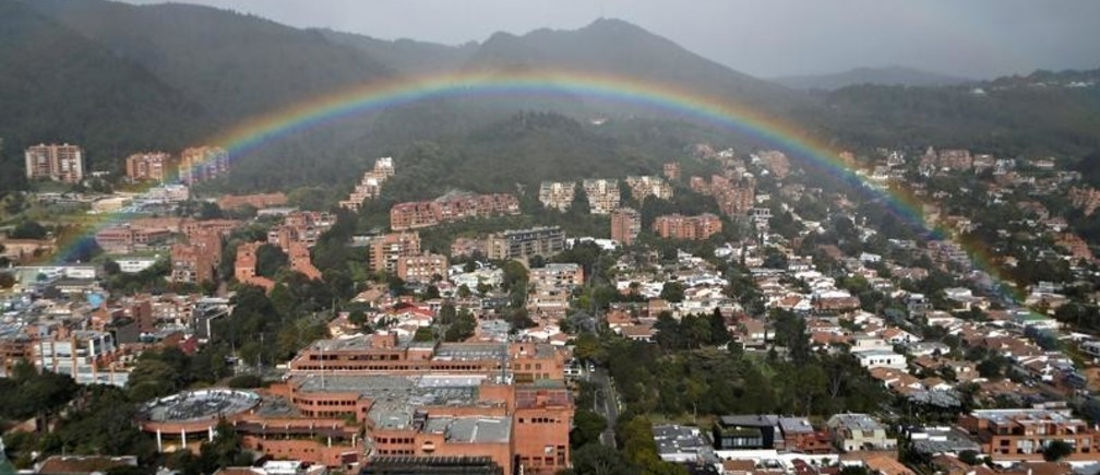 A rainbow appears over the eastern hills in Bogota, Colombia August 9, 2018.