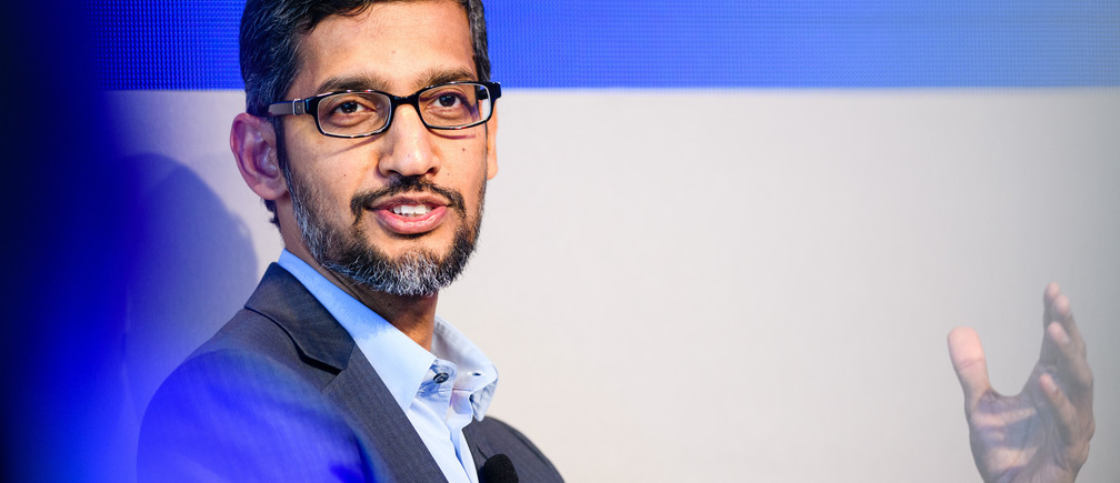 "Sundar Pichai, Chief Executive Officer, Google, USA speaking during the Session ""An Insight, An Idea with Sundar Pichai"" at the Annual Meeting 2018 of the World Economic Forum in Davos, January 24,  2018.Copyright by World Economic Forum / Manuel Lopez"