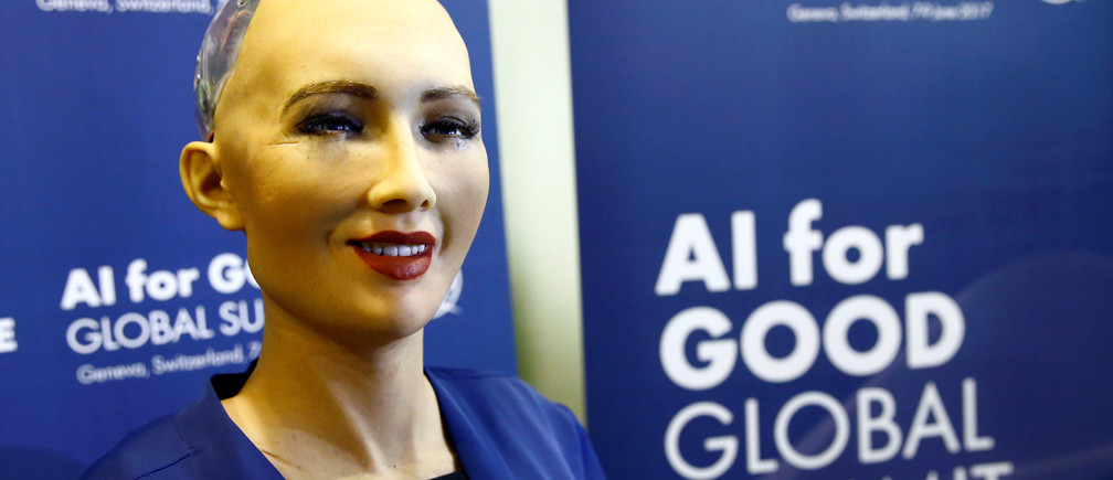 """Sophia, a robot integrating the latest technologies and artificial intelligence developed by Hanson Robotics is pictured during a presentation at the """"AI for Good"""" Global Summit at the International Telecommunication Union (ITU) in Geneva, Switzerland June 7, 2017. REUTERS/Denis Balibouse - RTX39EYV"""