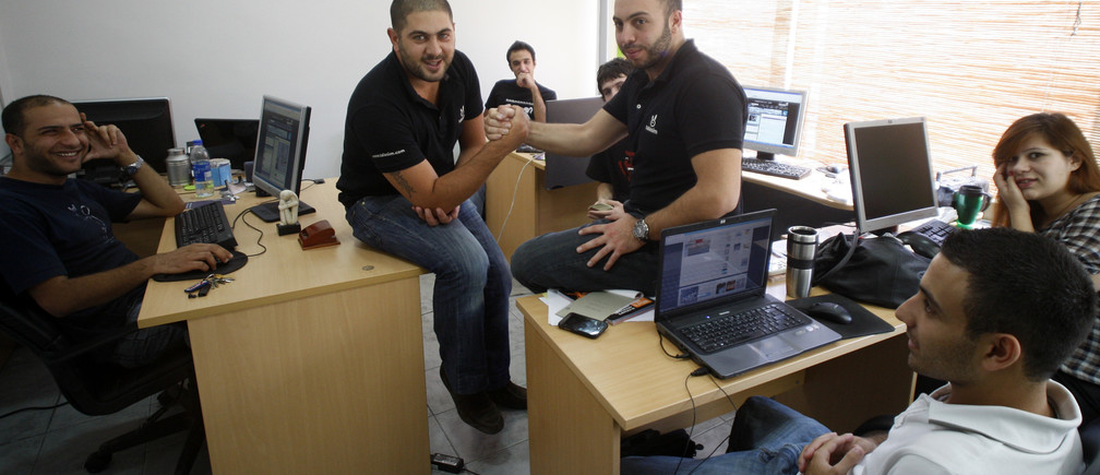 In the office at award-winning Amman start-up Talasim.com.