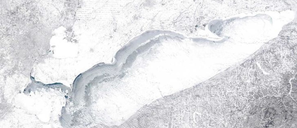 Lake Erie shown in this NASA MODIS (Moderate Resolution Imaging Spectroradiometer) satellite image captured at 1818 GMT (1318 EST) on February 15, 2015 is more than 90% frozen according to the Great Lakes Environmental  Research Laboratory. The aftermath of a deadly winter storm paralyzed much of the eastern United States on Tuesday and forecasters warned of the worst cold in two decades from another arctic front this week. Picture taken on February 15, 2015.  REUTERS/NASA/Handout  (UNITED STATES - Tags: ENVIRONMENT) FOR EDITORIAL USE ONLY. NOT FOR SALE FOR MARKETING OR ADVERTISING CAMPAIGNS. THIS IMAGE HAS BEEN SUPPLIED BY A THIRD PARTY. IT IS DISTRIBUTED, EXACTLY AS RECEIVED BY REUTERS, AS A SERVICE TO CLIENTS