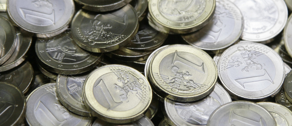 One Euro coins are pictured after being minted at the Austrian national mint in Vienna April 8, 2009.  REUTERS/Leonhard Foeger  (AUSTRIA BUSINESS) - BM2E54811HZ01