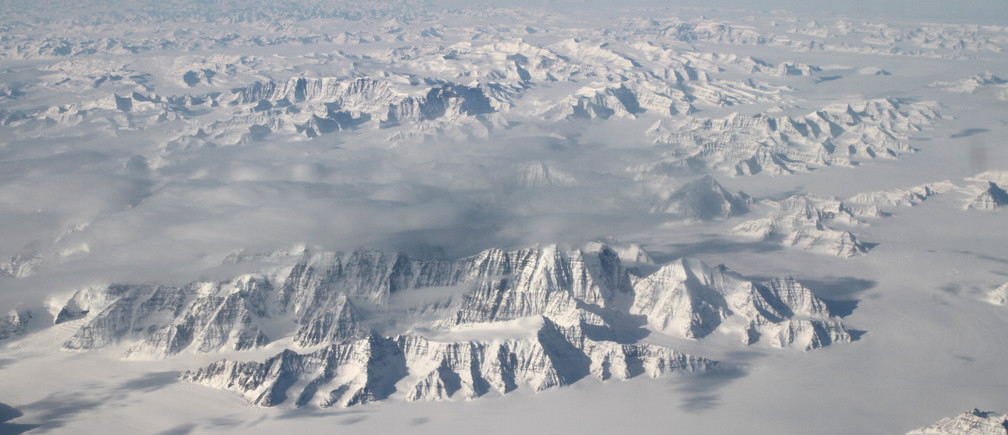 The northeast coastline of the Greenland ice sheet is seen in an image from NASA's Oceans Melting Greenland (OMG) field campaign from an altitude of about 40,000 feet (12,190 meters) taken March 26, 2016 and released March 29, 2016