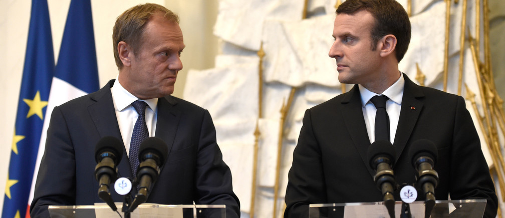 French President Emmanuel Macron (R) holds a joint news conference with European Council President Donald Tusk at the Elysee Palace in Paris, France, May 17, 2017.
