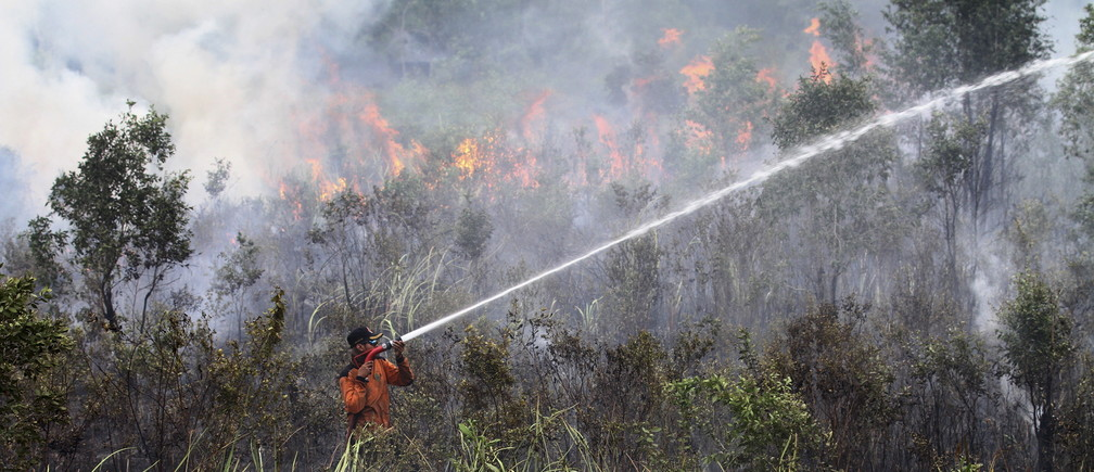 An officer from the local Disaster Management Agency (BPBD) attempts to extinguish a fire in Sei Rambutan, Ogan Ilir, South Sumatra September 16, 2015 in this photo taken by Antara Foto. A worsening haze across northern Indonesia, neighbouring Singapore and parts of Malaysia on Tuesday forced some schools to close and airlines to delay flights, while Indonesia ordered a crackdown against lighting fires to clear forested land